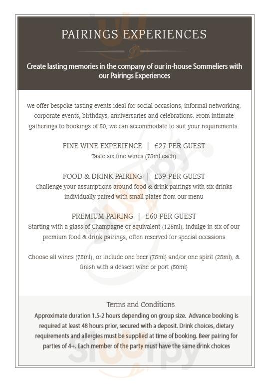 Pairings Wine Bar York menu - page 1