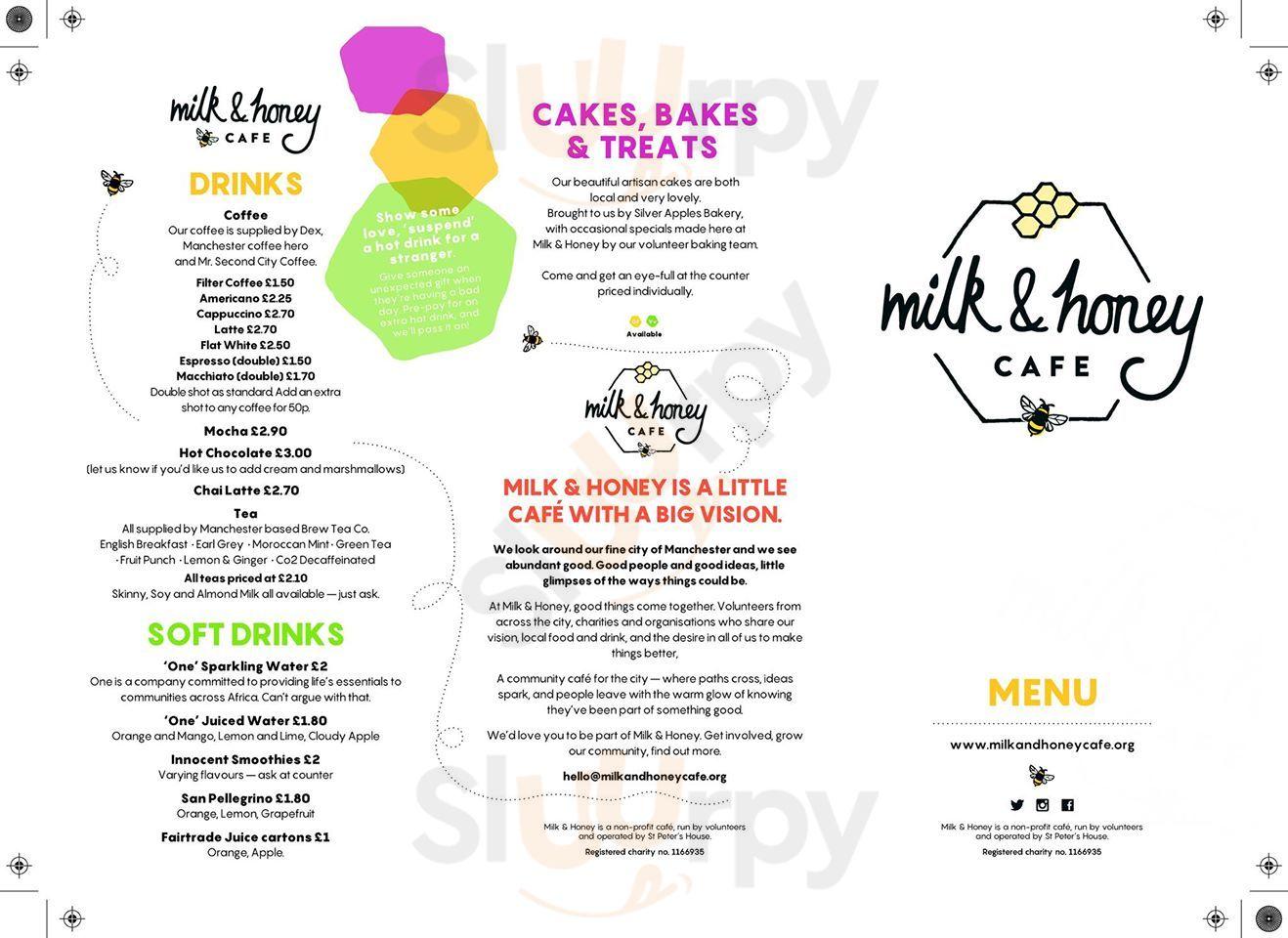 Milk And Honey Cafe menù, Manchester   Main Menu   Sluurpy