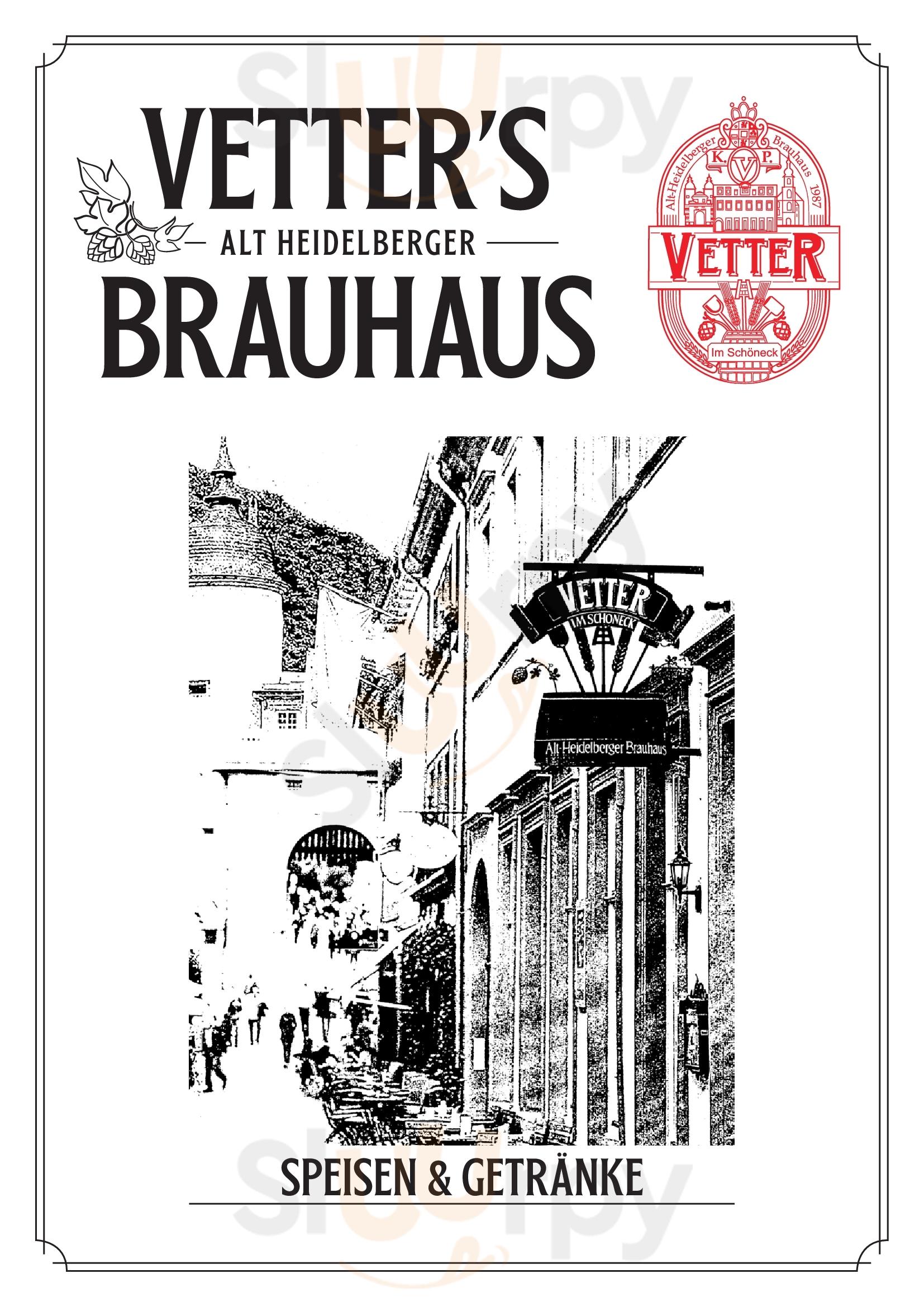 Vetter's Alt Heidelberger Brauhaus Heidelberg Menu - 1
