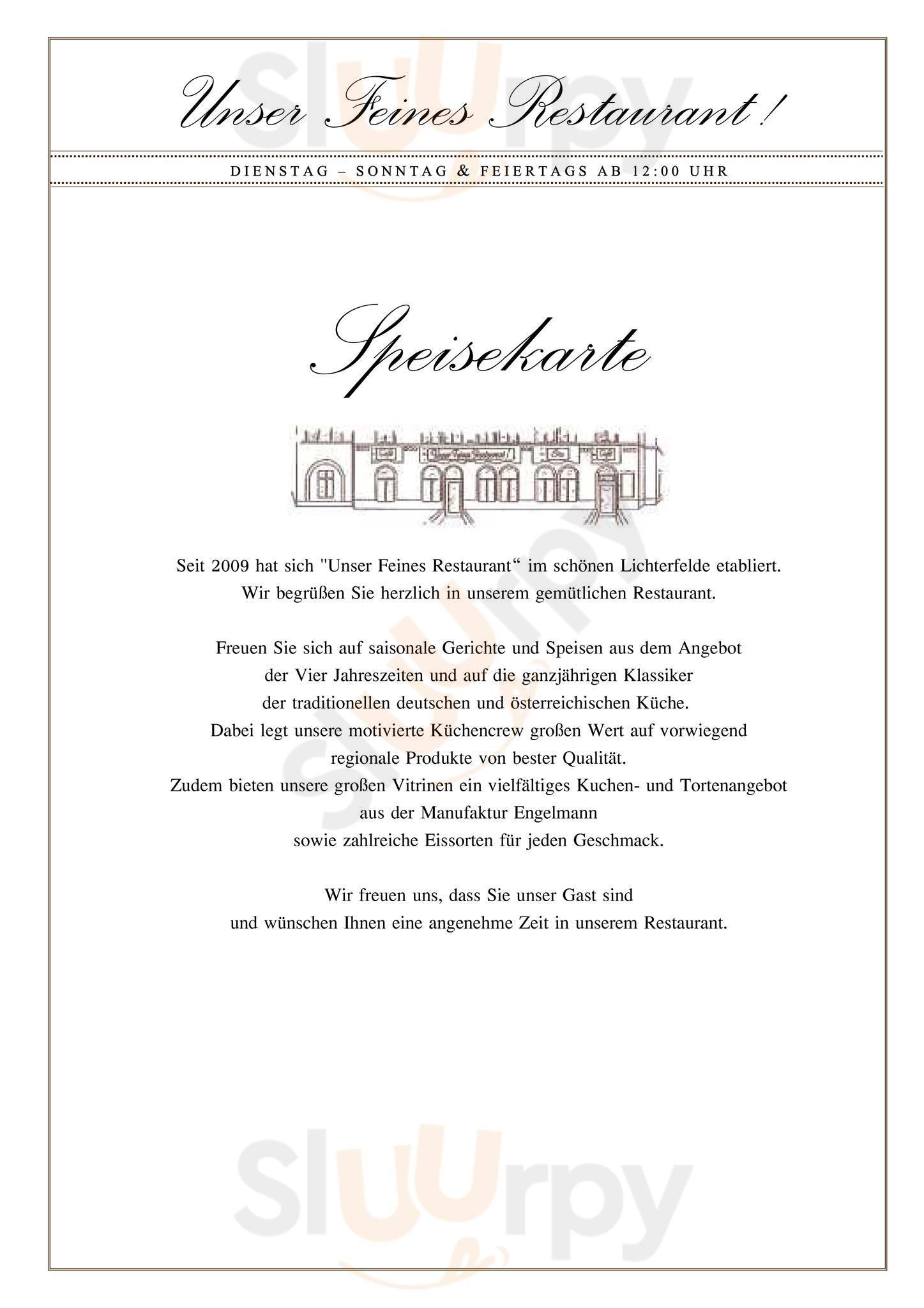 Unser Feines Restaurant Berlin Menu - 1