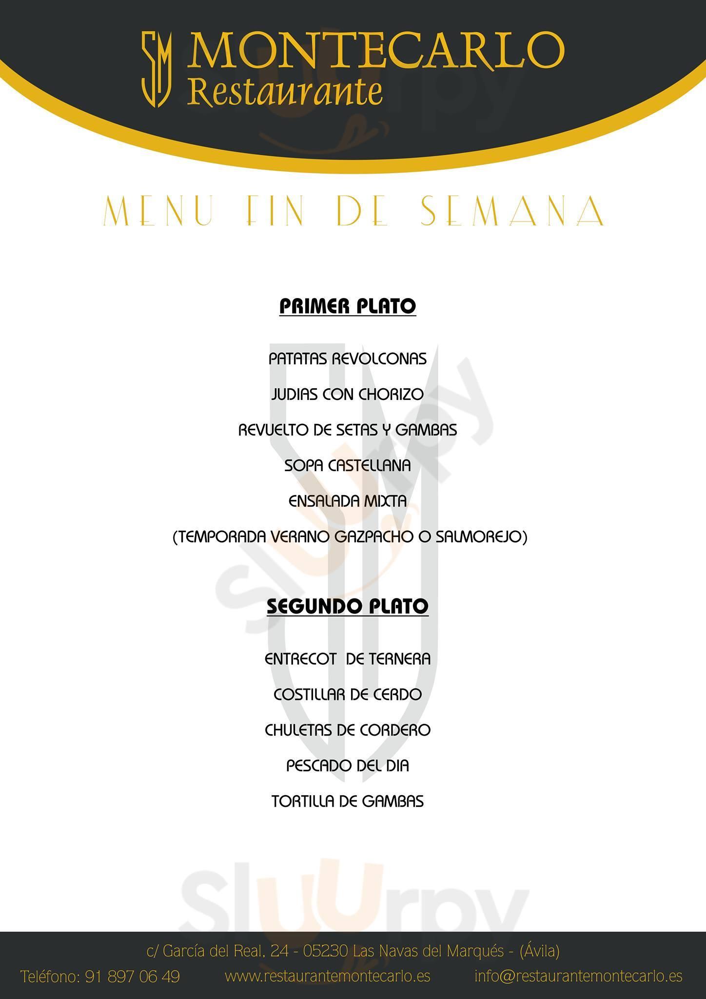 Restaurante Montecarlo Las Navas del Marqués Menu - 1