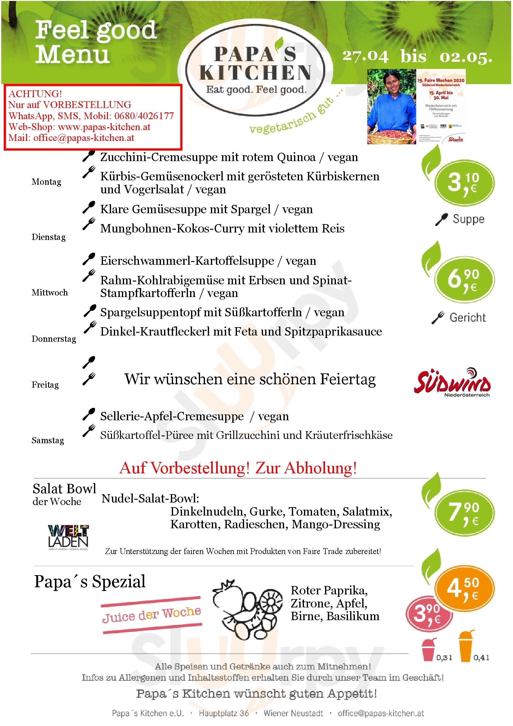 Papa´s Kitchen Wiener Neustadt menù - pagina 1