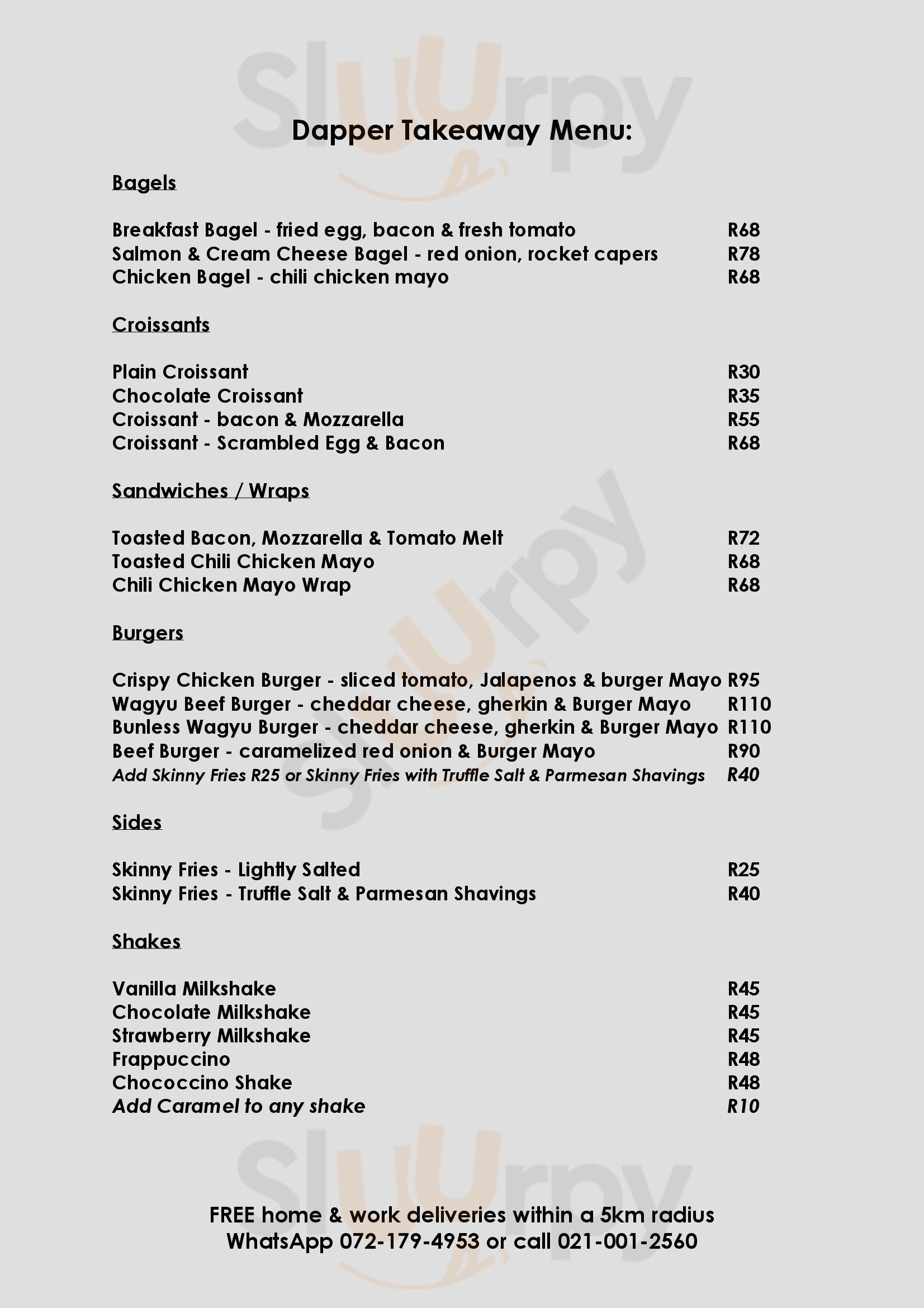 Dapper Coffee Co Cape Town Central menù - pagina 1