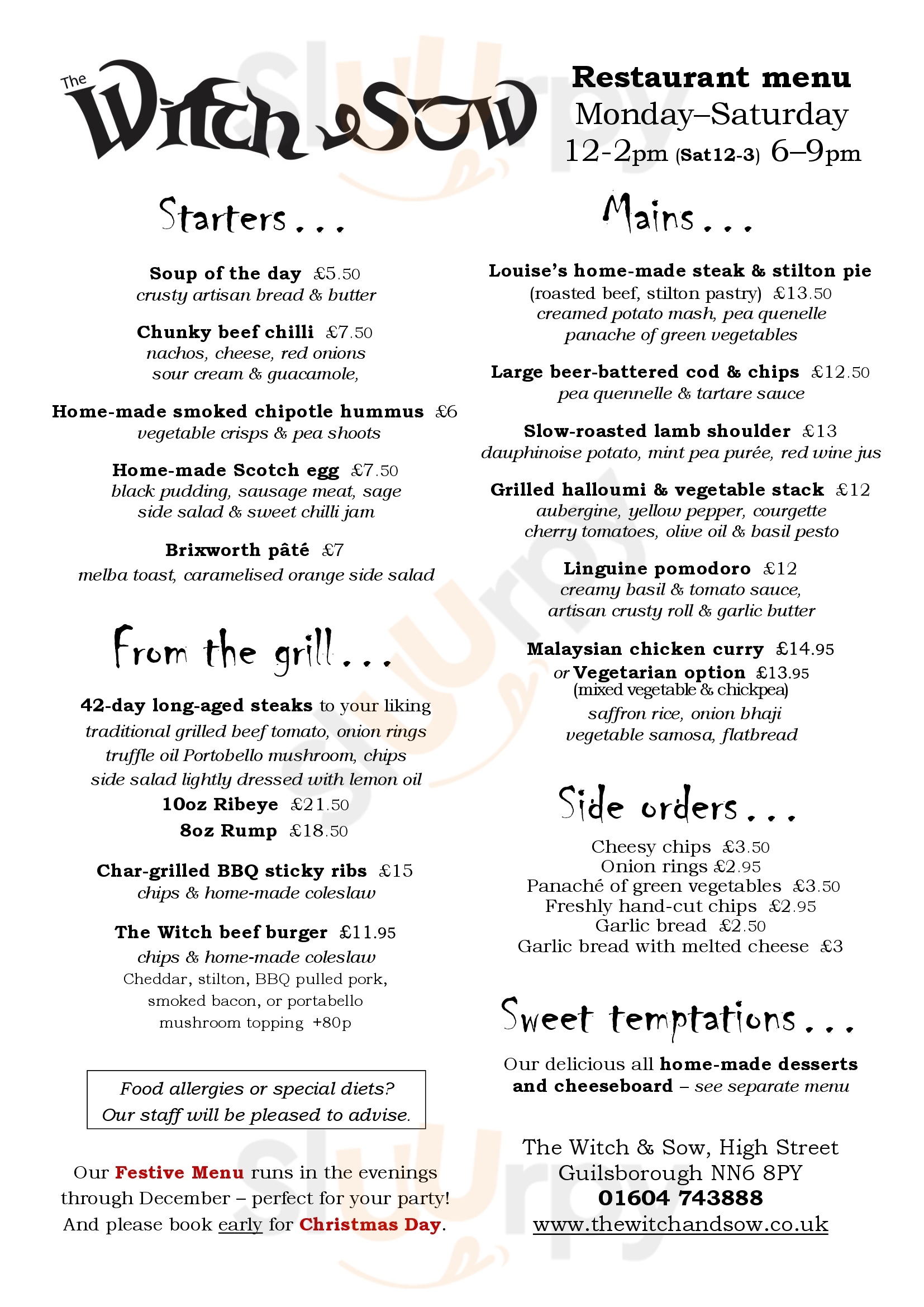 The Witch And Sow Public House Guilsborough Menu - 1