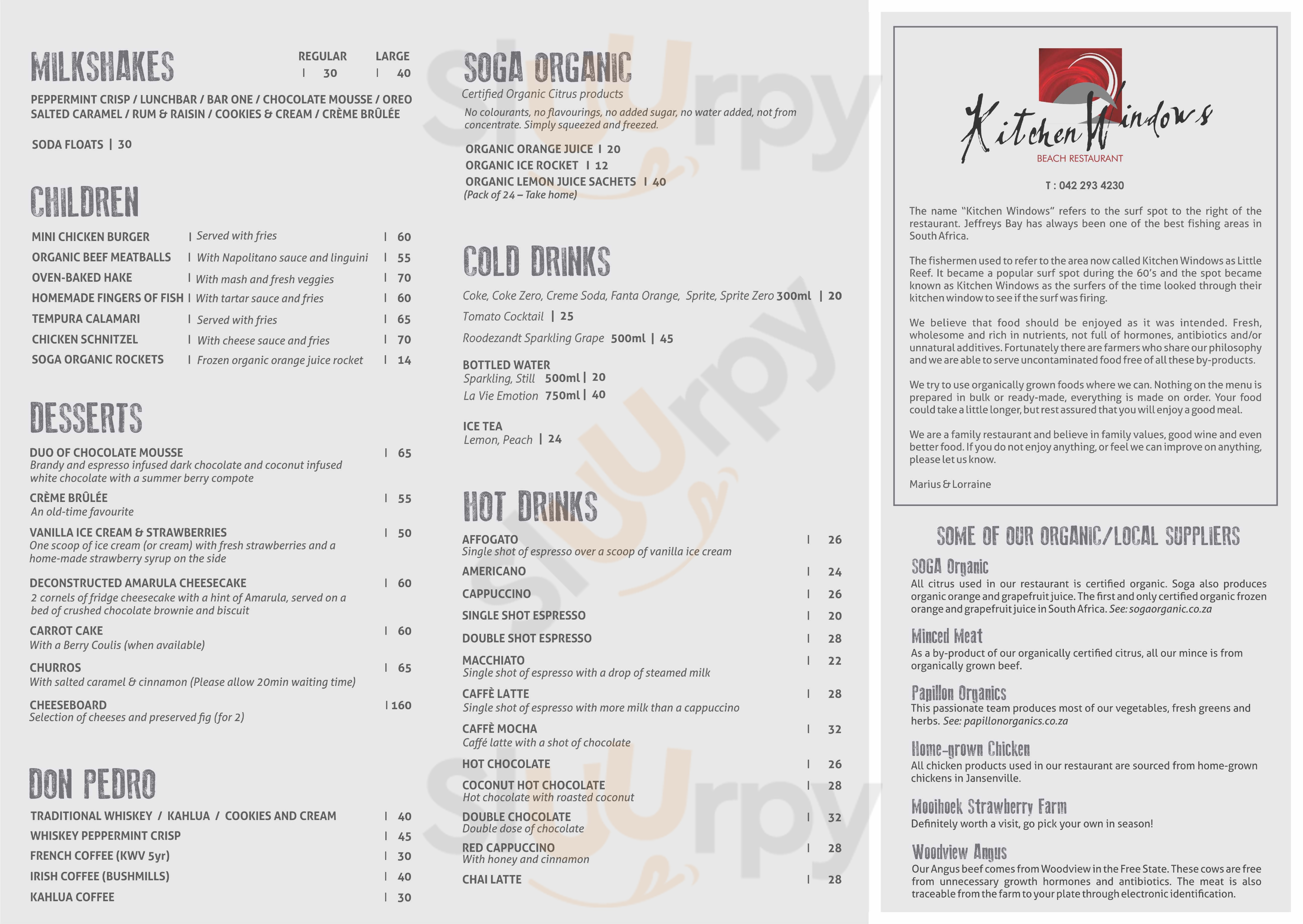 Kitchen Windows Beach Restaurant Jeffreys Bay Menu - 1