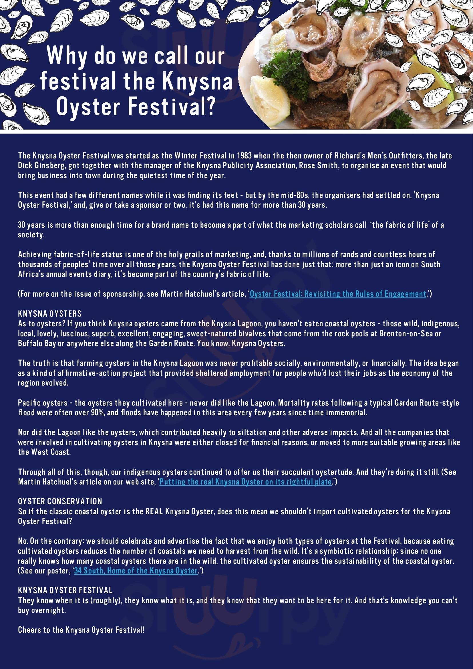 Tapas And Oysters Knysna Menu - 1