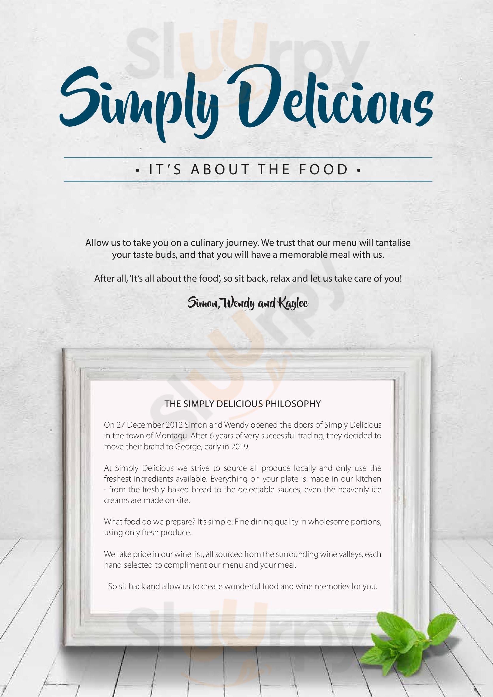 Simply Delicious Restaurant George menù - pagina 1