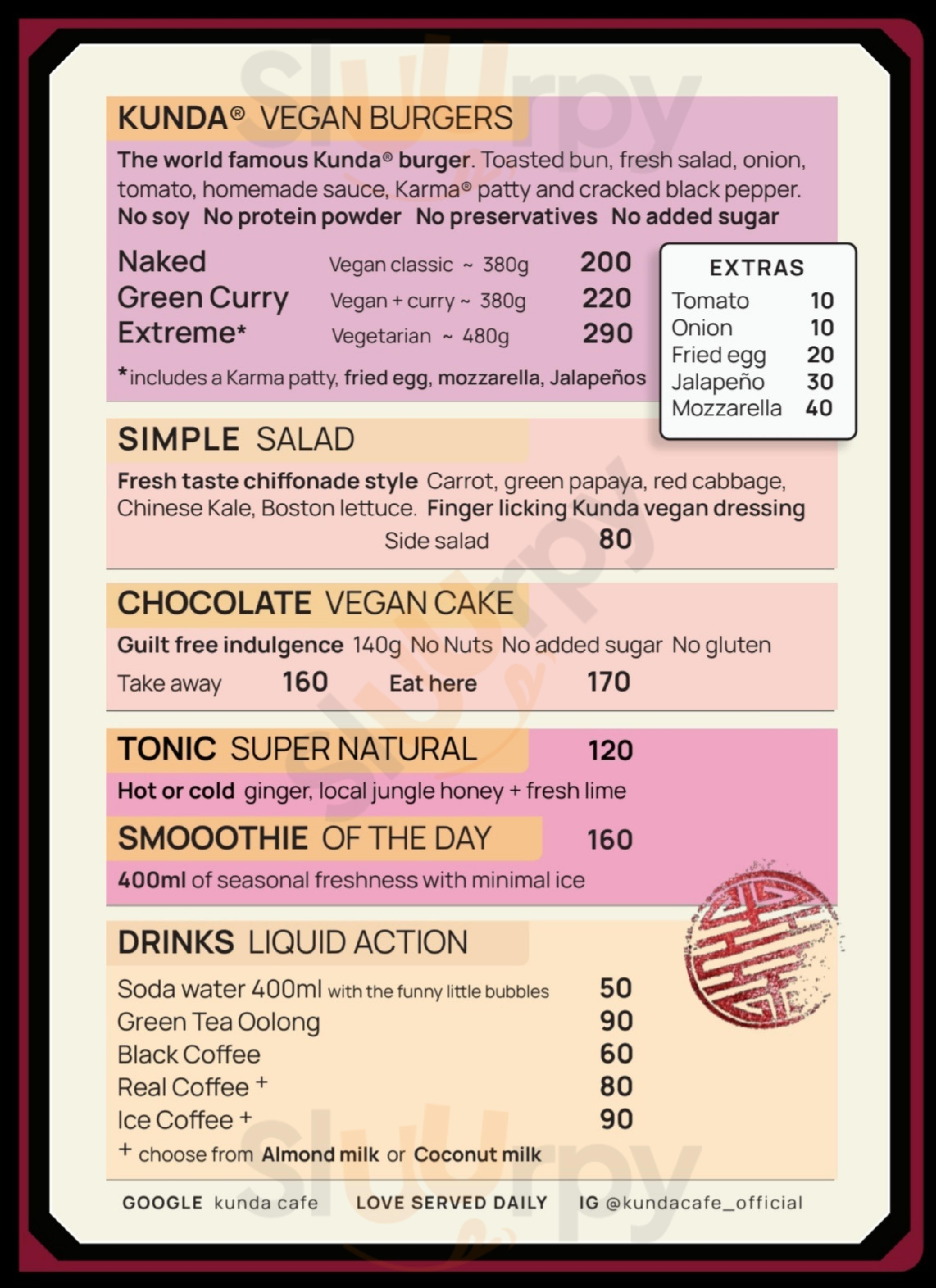Kunda Vegan Vegetarian Chiang Rai เมืองเชียงราย Menu - 1